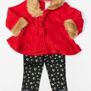 Little Lass Matching Sets - Little Lass Baby Girl Red/Black Leggings Set